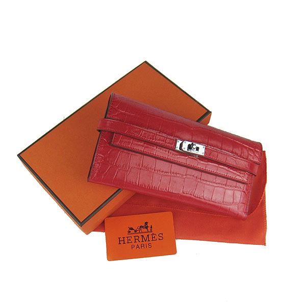 High Quality Hermes Kelly Crocodile Veins Long Clutch Bag Red H009 Replica