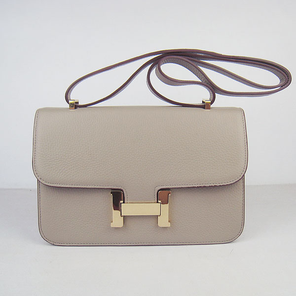 7A Hermes Constance Togo Leather Single Bag Grey Gold Hardware H020