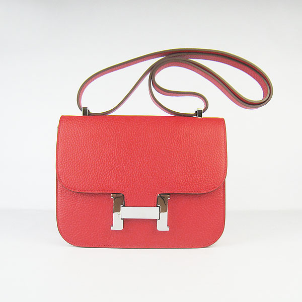 7A Hermes Oxhide Leather Message Bag Red H017