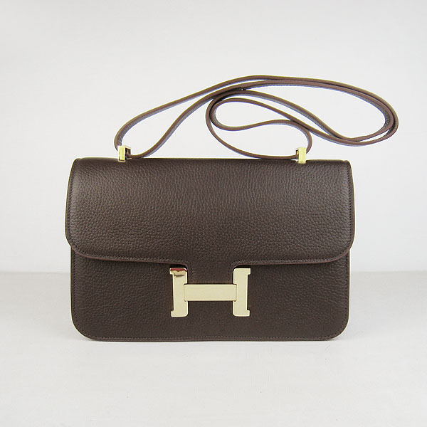 7A Hermes Constance Togo Leather Single Bag Dark Coffee Gold Hardware H020