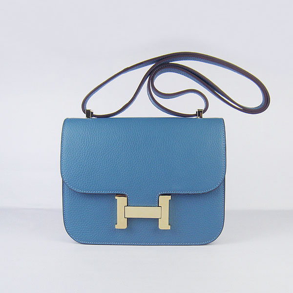 7A Hermes Oxhide Leather Message Bag Middle Blue H017