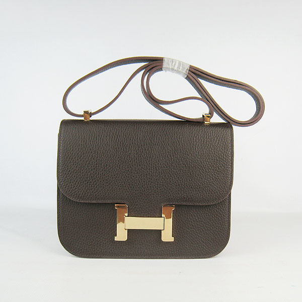 7A Hermes Oxhide Leather Message Bag Dark Coffee H017