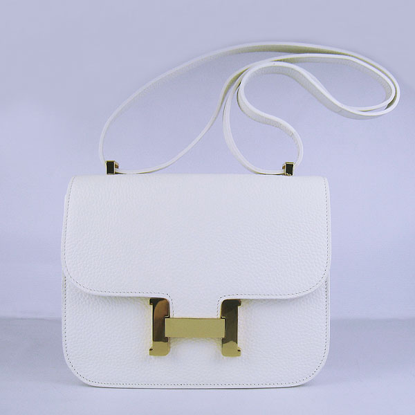 7A Hermes Oxhide Leather Message Bag White H017