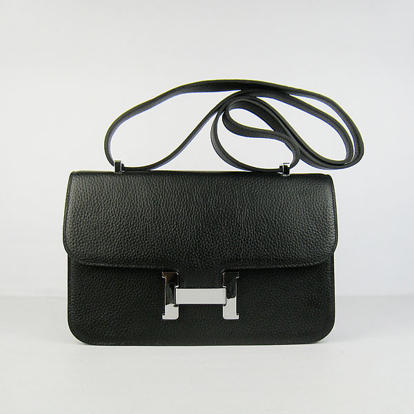 7A Hermes Constance Togo Leather Single Bag Black Silver Hardware H020