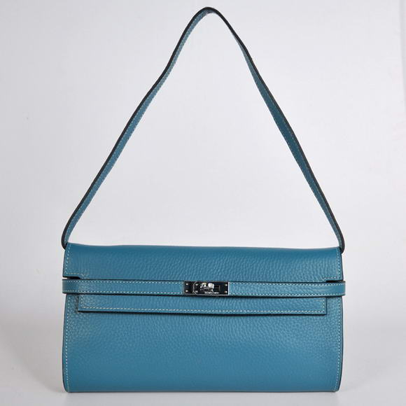 AAA Hermes Kelly 26CM Shoulder Bag Clemence Blue 60669 On Sale