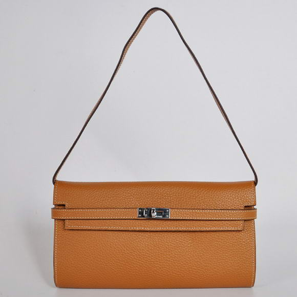 AAA Hermes Kelly 26CM Shoulder Bag Clemence Camel 60699 On Sale