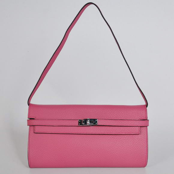 AAA Hermes Kelly 26CM Shoulder Bag Clemence Peach 60699 On Sale