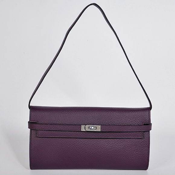 AAA Hermes Kelly 26 CM Shoulder Bag Clemence Purple 60699 On Sale