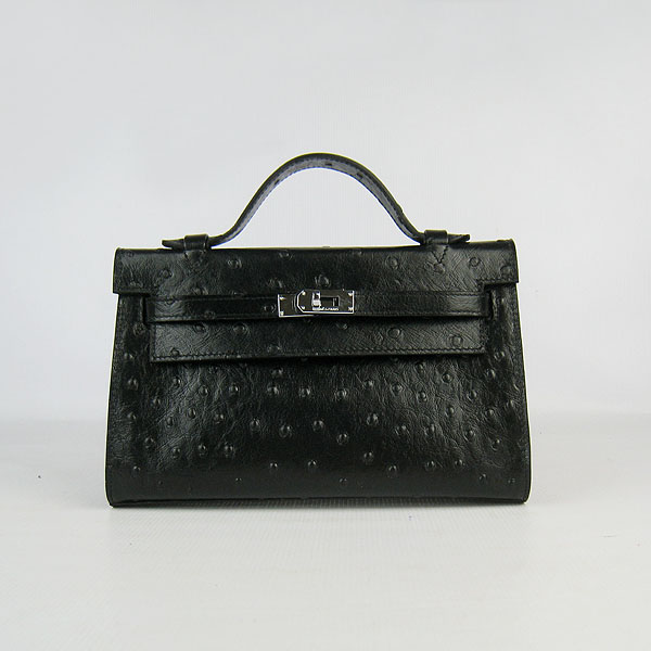 AAA Hermes Kelly 22 CM Ostrich Veins Handbag Black H008 On Sale