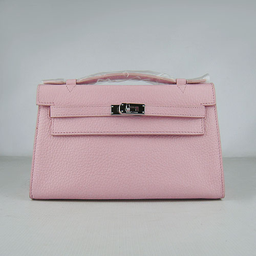 AAA Hermes Kelly 22 CM France Leather Handbag Pink H008 On Sale