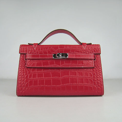 AAA Hermes Kelly 22 CM France Veins Leather Handbag Red H008 On Sale