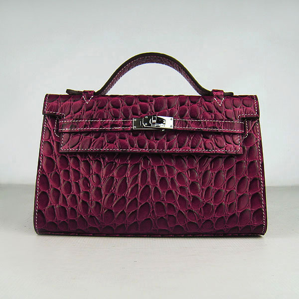 AAA Hermes Kelly 22 CM France Python Leather Handbag Wine H008 On Sale