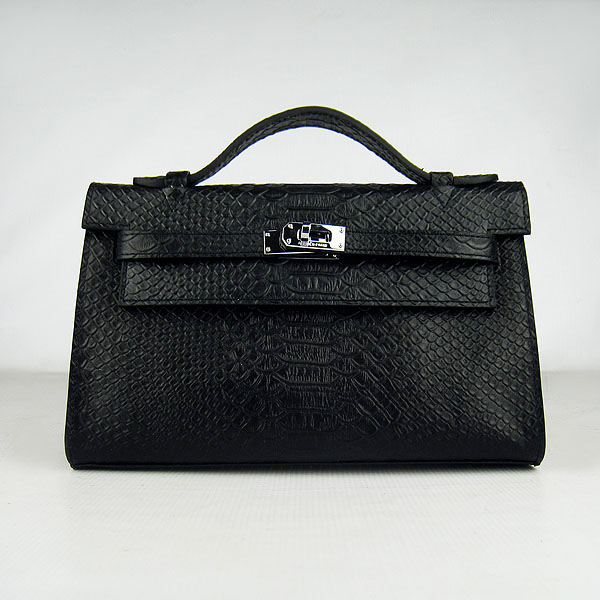 AAA Hermes Kelly 22 CM Snake Veins Handbag Black H008 On Sale