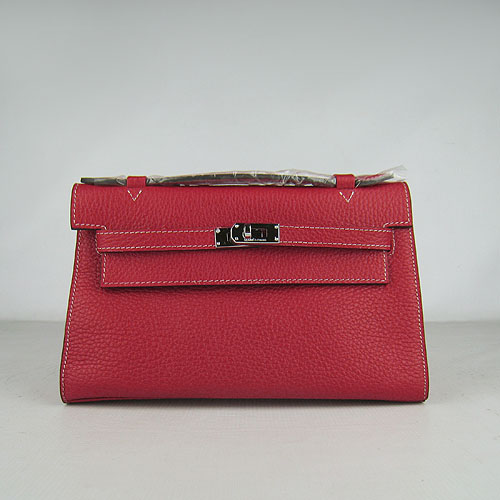AAA Hermes Kelly 22 CM France Leather Handbag Red H008 On Sale