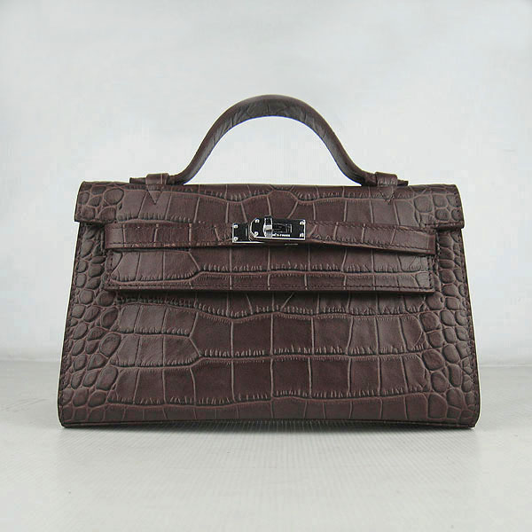 AAA Hermes Kelly 22 CM Crocodile Veins Leather Handbag Coffee H008 On Sale
