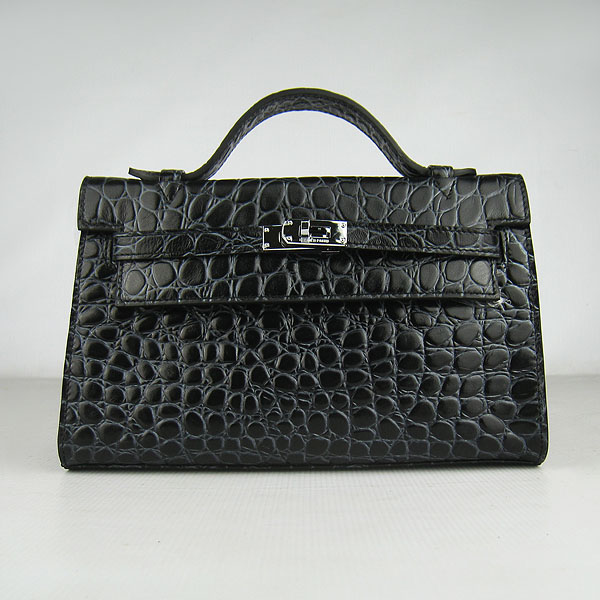 AAA Hermes Kelly 22 CM France Python Leather Handbag Black H008 On Sale