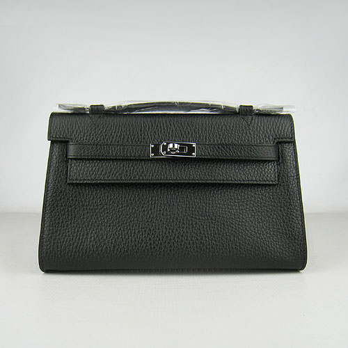 AAA Hermes Kelly 22 CM France Leather Handbag Black H008 On Sale
