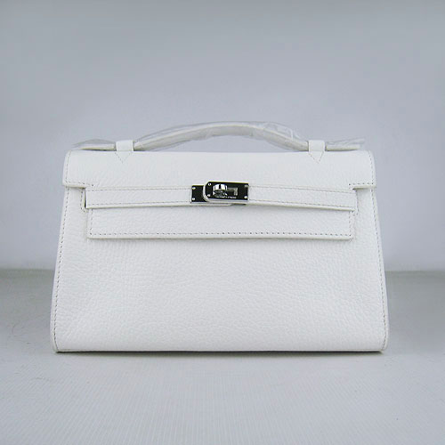 AAA Hermes Kelly 22 CM France Leather Handbag White H008 On Sale