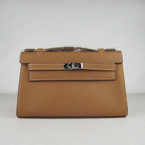 AAA Hermes Kelly 22 CM France Leather Handbag Light Coffee H008 On Sale