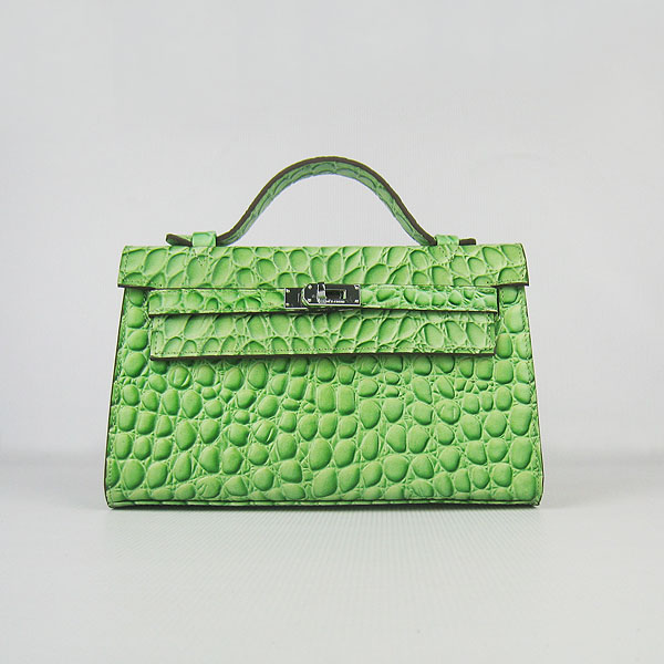 AAA Hermes Kelly 22 CM Stone Veins Leather Handbag Light Green H008 On Sale