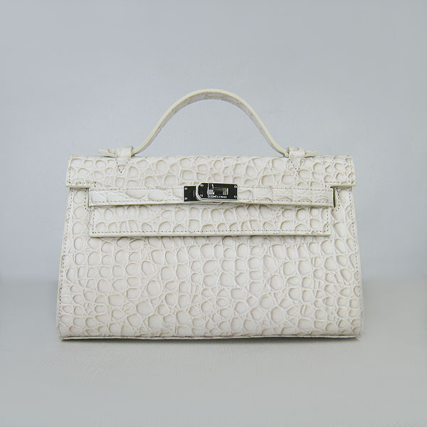 AAA Hermes Kelly 22 CM Stone Veins Leather Handbag Cream H008 On Sale