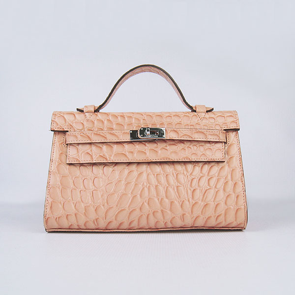 AAA Hermes Kelly 22 CM Stone Veins Leather Handbag Light Orange H008 On Sale