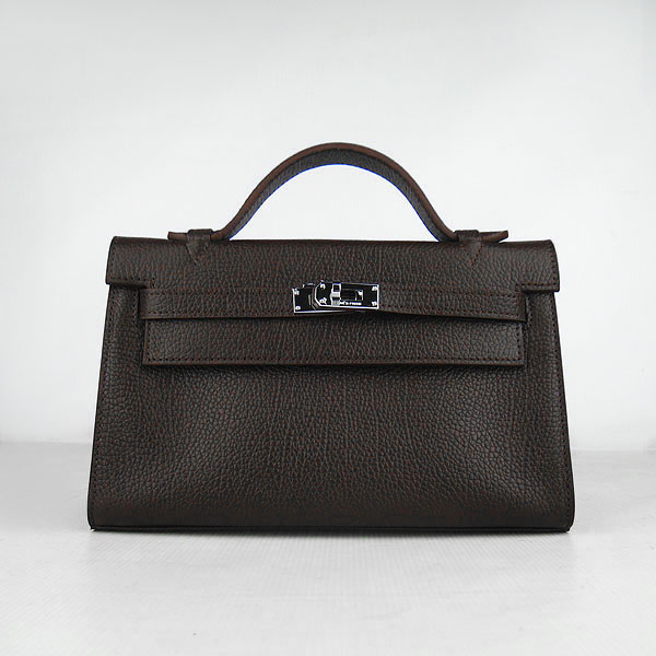 AAA Hermes Kelly 22 CM France Leather Handbag Dark Coffee H008 On Sale