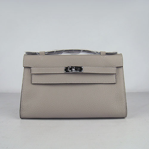 AAA Hermes Kelly 22 CM France Leather Handbag Grey H008 On Sale