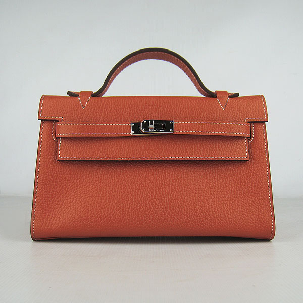 AAA Hermes Kelly 22 CM France Leather Handbag Orange H008 On Sale