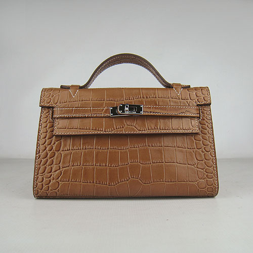 AAA Hermes Kelly 22 CM France Veins Leather Handbag Light Coffee H008 On Sale