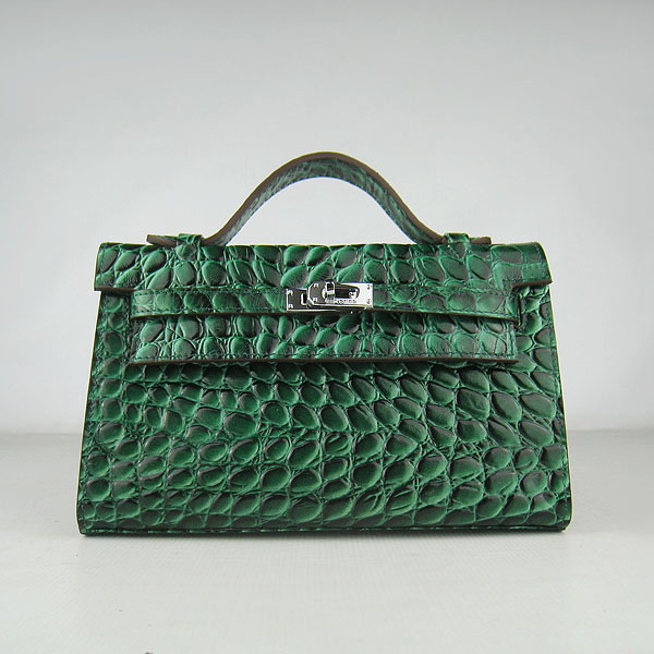 AAA Hermes Kelly 22 CM Python Leather Handbag Dark Green H008 On Sale