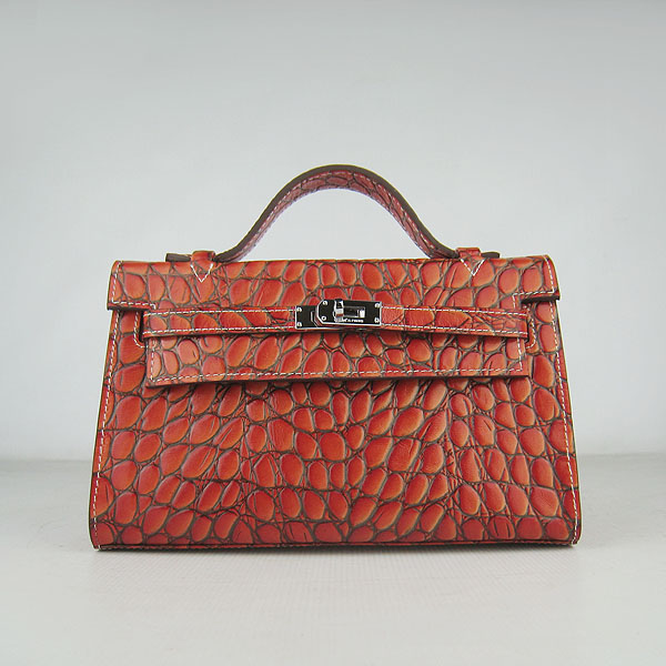 AAA Hermes Kelly 22 CM Python Leather Handbag Dark Orange H008 On Sale