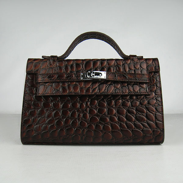 AAA Hermes Kelly 22 CM France Python Leather Handbag Dark Coffee H008 On Sale