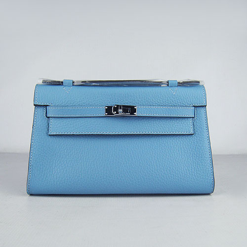 AAA Hermes Kelly 22 CM France Leather Handbag Light Blue H008 On Sale