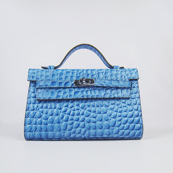 AAA Hermes Kelly 22 CM Stone Veins Leather Handbag Blue H008 On Sale