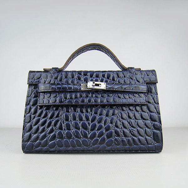 AAA Hermes Kelly 22 CM Python Leather Handbag Dark Blue H008 On Sale