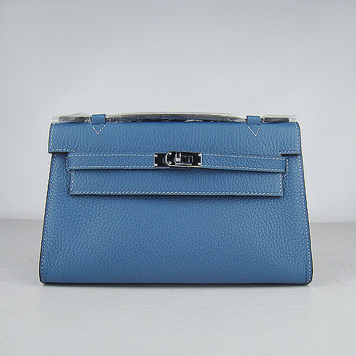 AAA Hermes Kelly 22 CM France Leather Handbag Blue H008 On Sale