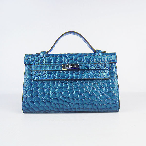 AAA Hermes Kelly 22 CM Stone Veins Handbag Blue H008 On Sale