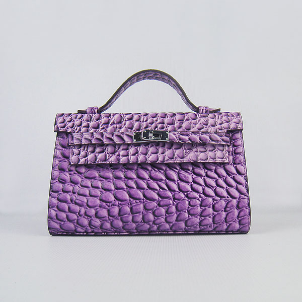 AAA Hermes Kelly 22 CM Stone Veins Leather Handbag Purple H008 On Sale