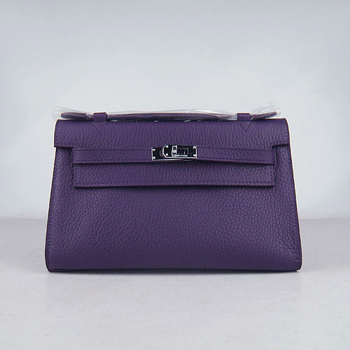AAA Hermes Kelly 22 CM France Leather Handbag Purple H008 On Sale