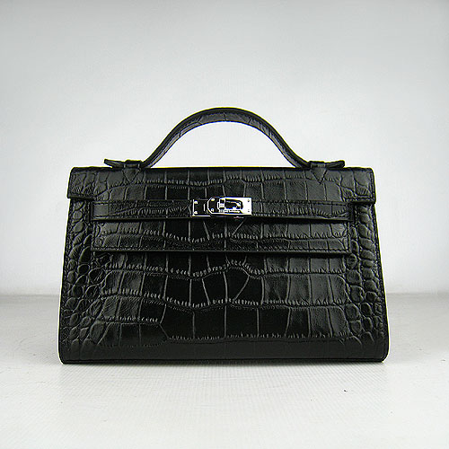 AAA Hermes Kelly 22 CM France Veins Leather Handbag Black H008 On Sale