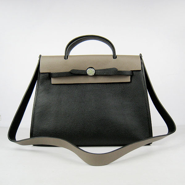 7A Replica Hermes Black/Grey Kelly 32cm Togo Leather Bag 60667