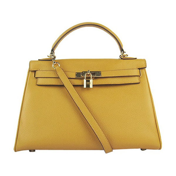 7A Replica Hermes Kelly 32cm Togo Leather Bag yellow 6108