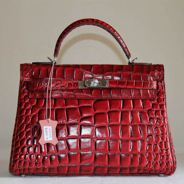 7A Replica Hermes Kelly 32cm Crocodile Veins Leather Bag Red HC0001 (3)