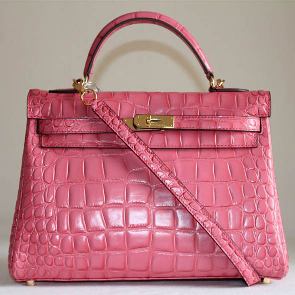 7A Replica Hermes Kelly 32cm Crocodile Veins Leather Bag Pink HC0001 (1)