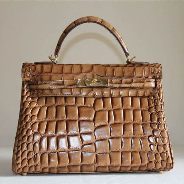 7A Replica Hermes Kelly 32cm Crocodile Veins Leather Bag Light Coffee HC0001 (2)