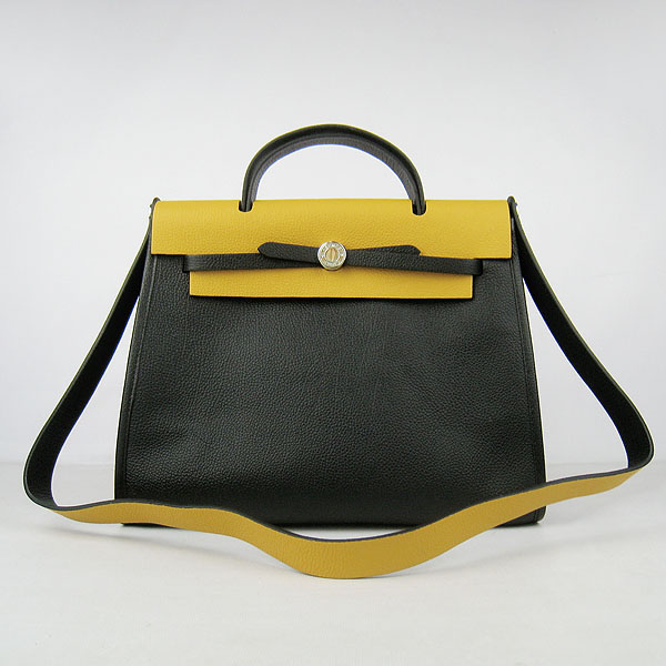 7A Replica Hermes Black/Yellow Kelly 32cm Togo Leather Bag 60667
