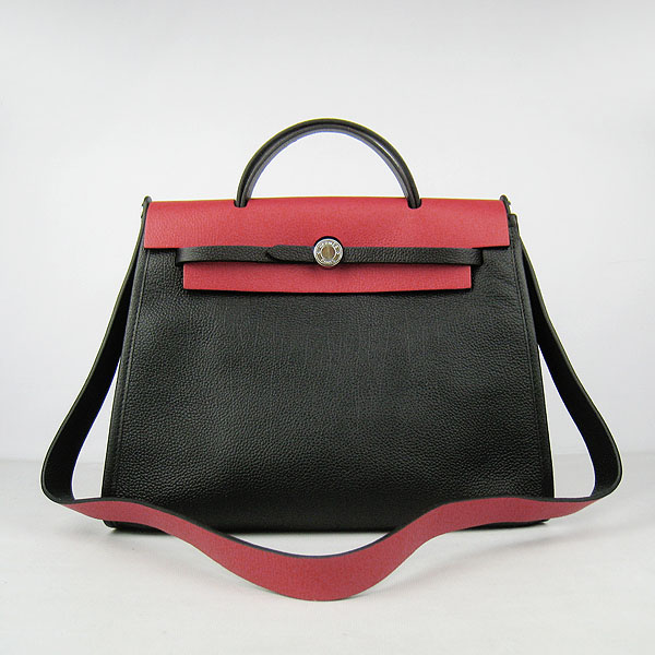7A Replica Hermes Black/Red Kelly 32cm Togo Leather Bag 60667