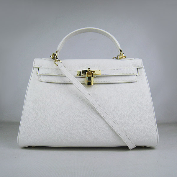7A Replica Hermes Kelly 32cm Togo Leather Bag White 6108