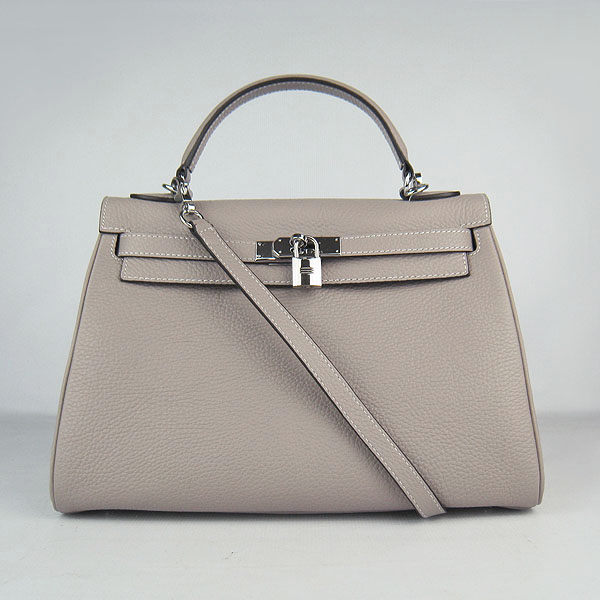 7A Replica Hermes Kelly 32cm Togo Leather Bag Grey 6108